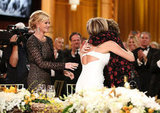 Jennifer Aniston hugged Shirley MacLaine at the AFI gala in Shirley's honor.