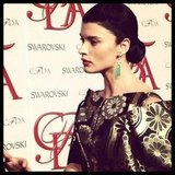 We spotted the stunning Crystal Renn on the CFDA red carpet.