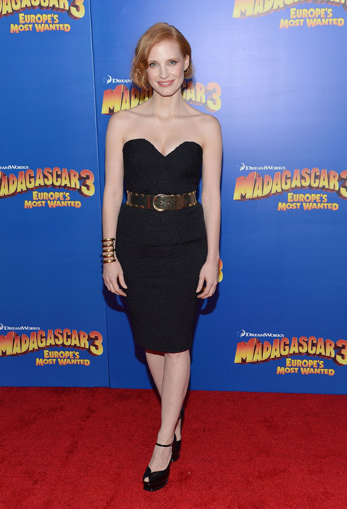 Jessica Chastain opted for a vintage YSL strapless at the Madagascar 3 premiere in NYC.