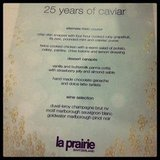 The delicious La Prairie menu celebrating 25 years of caviar.