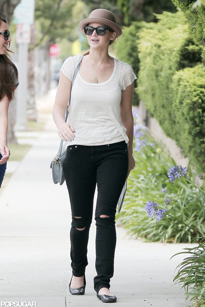 Jennifer Lawrence talked with a friend in Santa Monica.