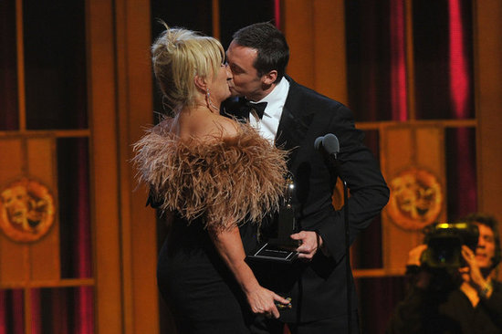 Hugh Jackman and wife Deborra-Lee Furness shared a special moment on stage at the 66th Annual Tony Awards on June 10.