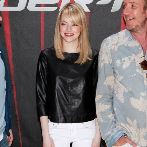 Emma Stone Black Leather Top With White Skinny Jeans