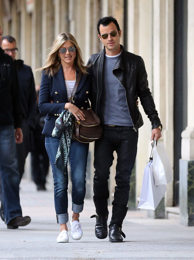 Jennifer Aniston and Justin Theroux Show Love While Touring Paris