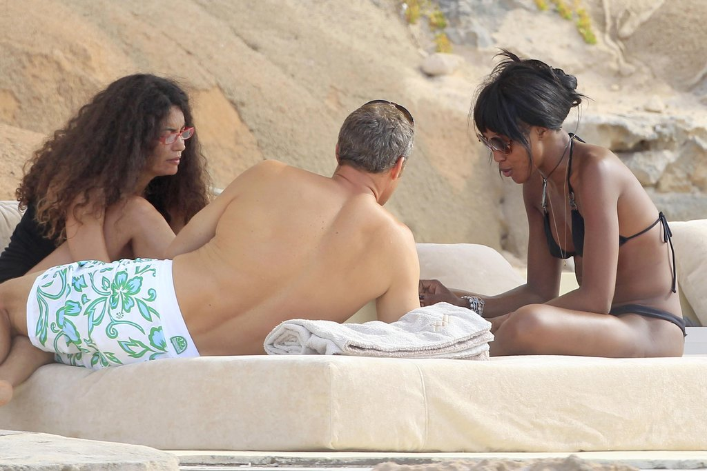 Naomi Campbell hung out with friends while in Ibiza.