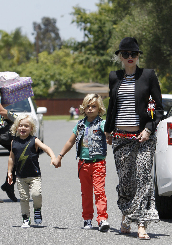 Gwen Stefani wore a black blazer and a skirt while hanging with her boys in Long Beach.