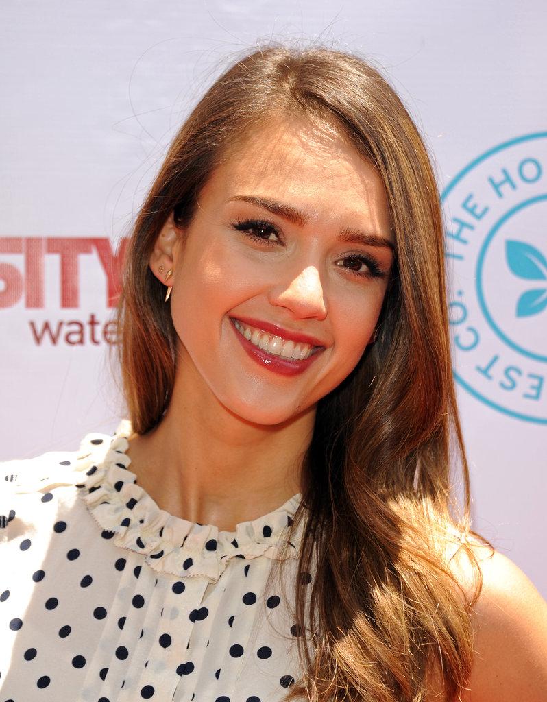 Jessica Alba smiled for the camera.