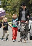 Gwen Stefani held hands with Kingston Rossdale and Zuma Rossdale in Long Beach, CA.