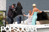 George Clooney and Stacy Keibler boarded a boat with friends.