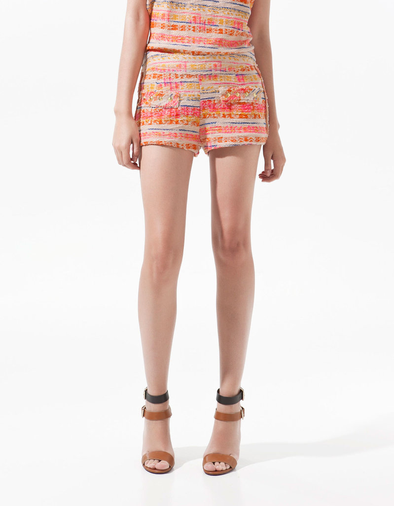 These colorfully studded shorts are an edgier take on tweed-inspired iterations, and we love that it fits the mold of Summer's bold color set. Zara Printed and Studded Shorts ($36)