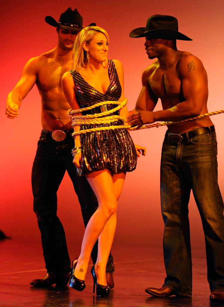 Bachelor winner Vienna Girardi got tied up on stage in 2010.