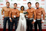 Chippendales man candy posed with a bride in 2009.