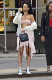 Rihanna stepped off a curb in NYC.