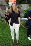 Stella McCartney posed at her Spring presentation in NYC.