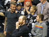 David Beckham and sons, Cruz Beckham, Brooklyn Beckham, and Romeo Beckham, all cheered at the LA Kings Stanley Cup final game in LA.