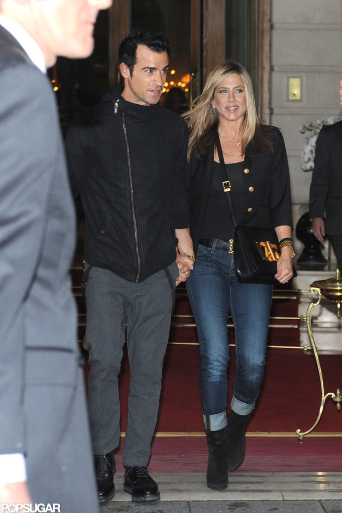 Jennifer Aniston and Justin Theroux were smiling as they stepped out in Paris.