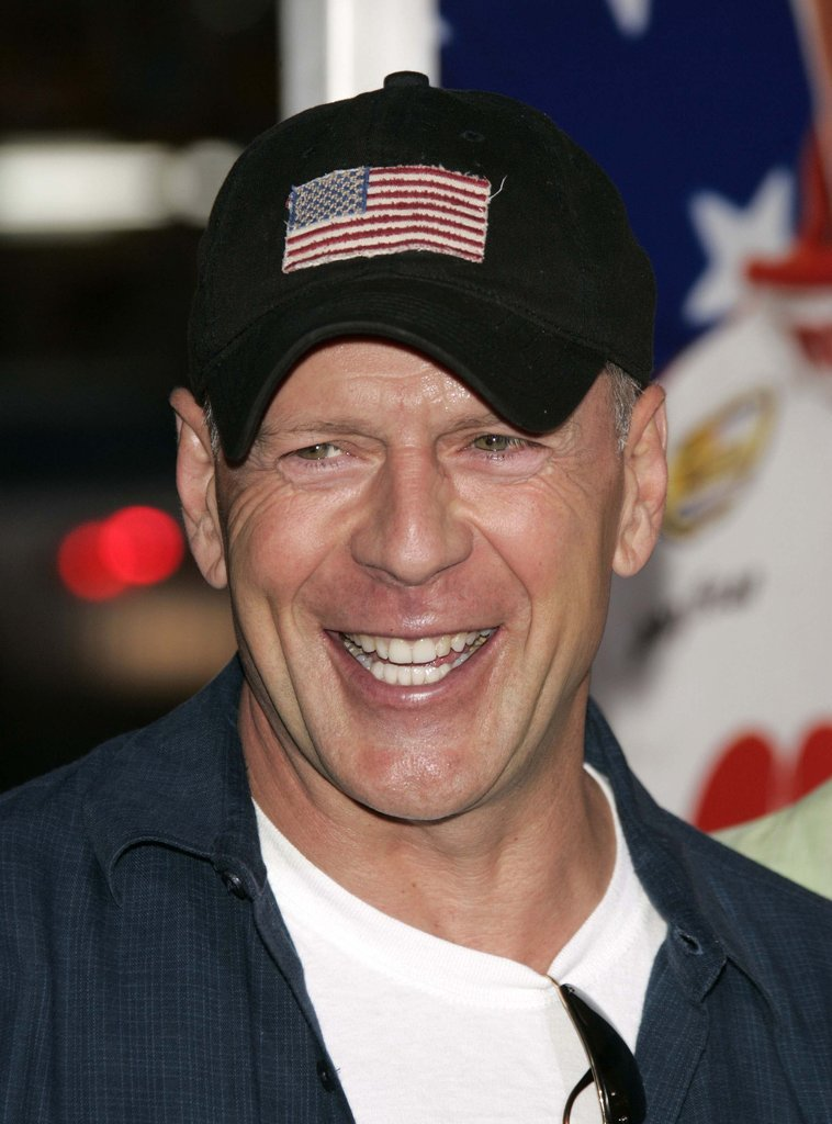 Bruce Willis wore an American-flag hat for a July 2006 appearance in LA.
