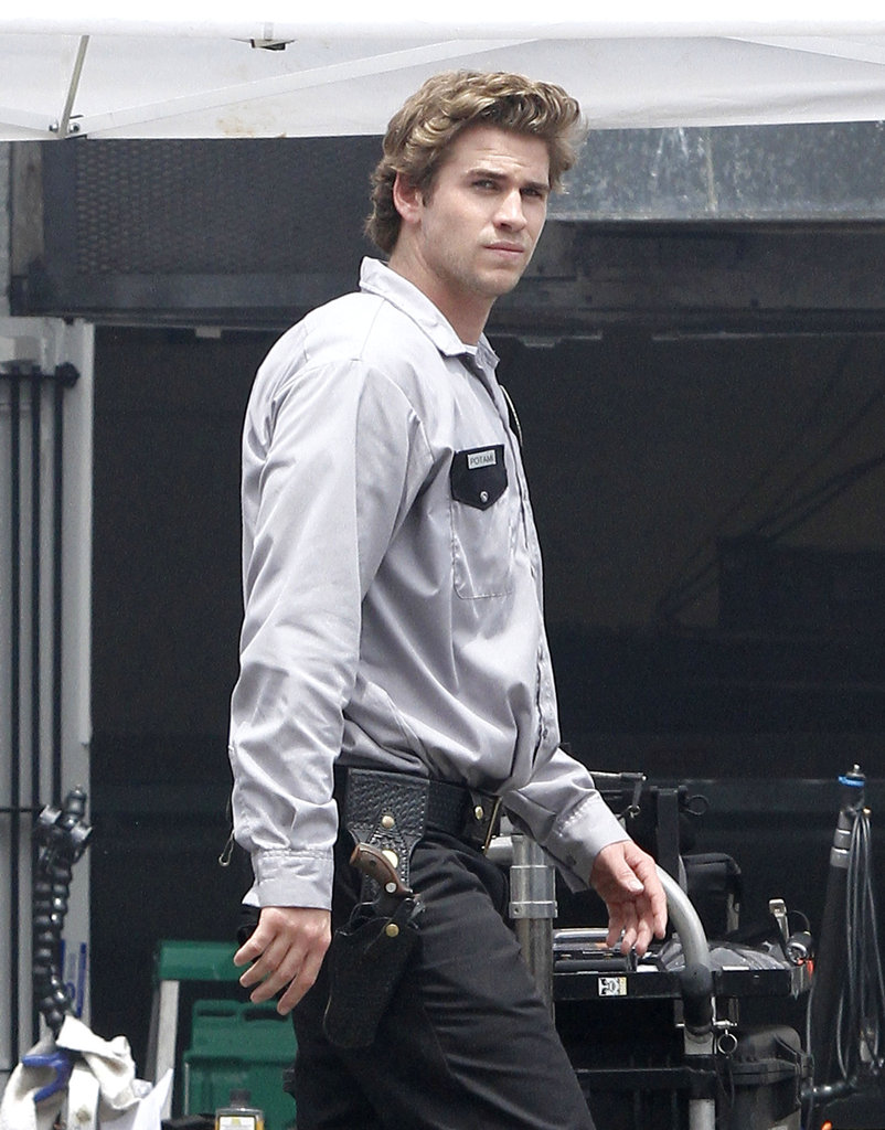 Liam Hemsworth wore a uniform on set.