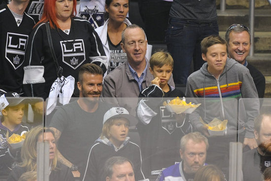 David Beckham attended the LA Kings Stanley Cup final game with his sons, Cruz, Romeo, and Brooklyn, in LA.