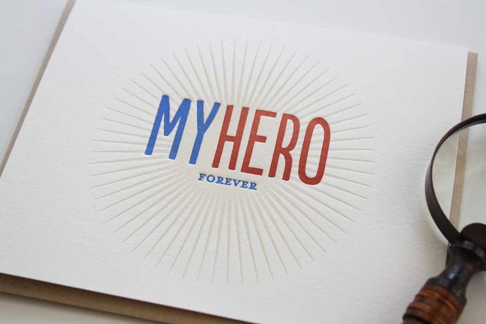 My Hero Letterpress Card ($5)