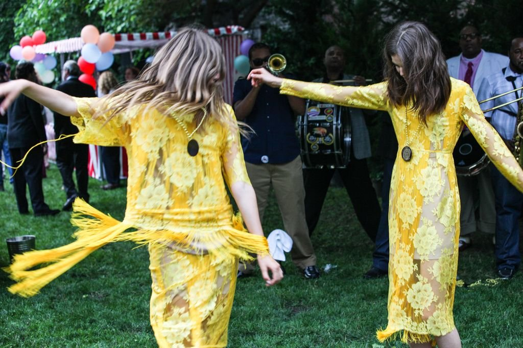 These two proved their fringed dresses were made for dancing.  Photo courtesy of Stella McCartney