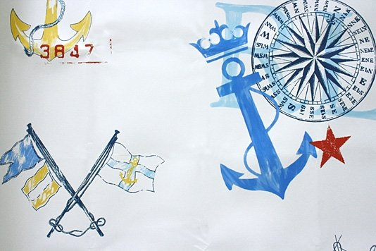 To create a major focal point in a room, paper a wall (or all four walls) with this Nautical Wallpaper ($113 per roll).