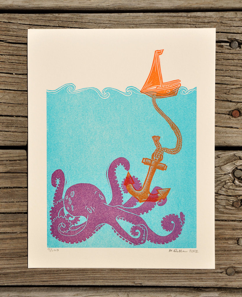 We love the vibrant colors in this Lost at Sea Letterpress Poster ($25).