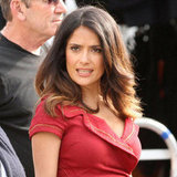 Salma Hayek wore red on set.