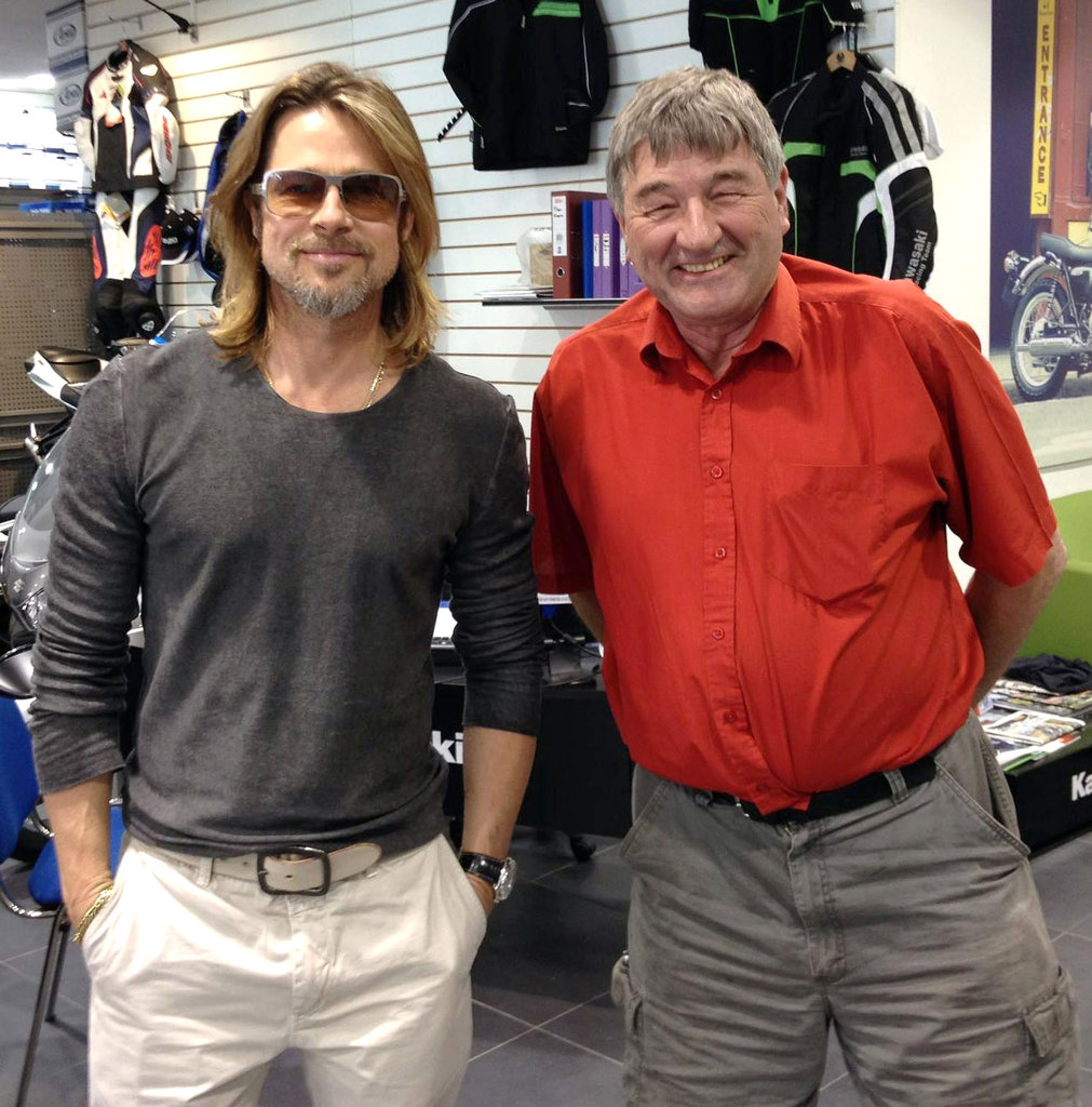 Brad Pitt stopped by a Honda motorcycle shop in London.
