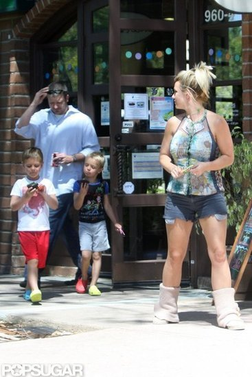 Britney Spears and Her Boys Stop For a Sweet Treat in Santa Barbara