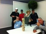 Brooklyn Decker, Andy Roddick and some friends engaged in a fierce game of Jenga. Source: Twitter user BrooklynDecker