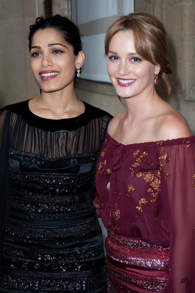 Leighton Meester and Freida Pinto linked up at the Salvatore Ferragamo Resort collection show in Paris.