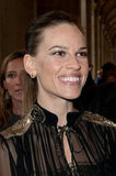 Hilary Swank gave a smile at the Salvatore Ferragamo Resort collection show in Paris.