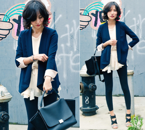 Take note: transform your work separates with a femme chiffon blouse layered underneath. Photo courtesy of Lookbook.nu