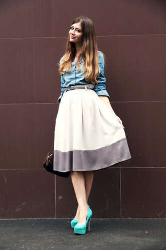 We love how she put an updated spin on a ladylike circle skirt with a denim button-down. Photo courtesy of Lookbook.nu