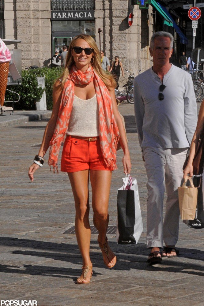 Stacy Keibler sported short shorts as she shopped around Lake Como.