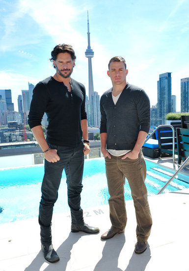 Joe Manganiello and Channing Tatum posed near the CN Tower in Toronto during a Magic Mike press junket.