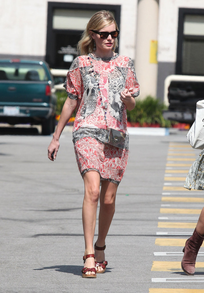 Kate Bosworth ran errands in LA carrying a JewelMint bag and donning a printed Isabel Marant dress.