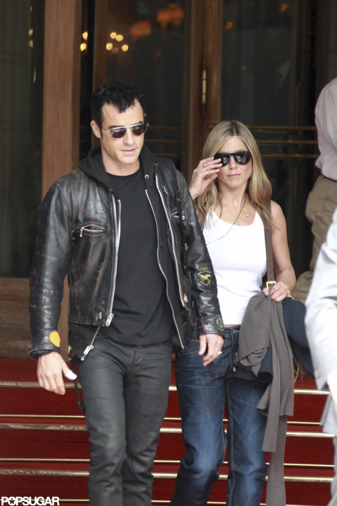 Jennifer Aniston and Justin Theroux start their day in Paris.