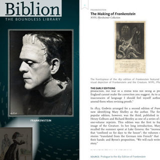 NYPL Biblion: Frankenstein iPad App