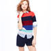 Pair this colorblocked striped top with a pencil skirt for a chic office look, or go bold and mix your prints for an eclectic Summer ensemble.