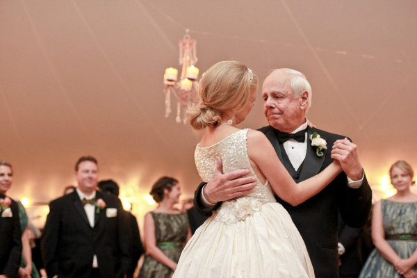 Nothing gets the crowd choked up like seeing a teary dad during the father/daughter dance. Photo by Jana Williams Photography via Style Me Pretty