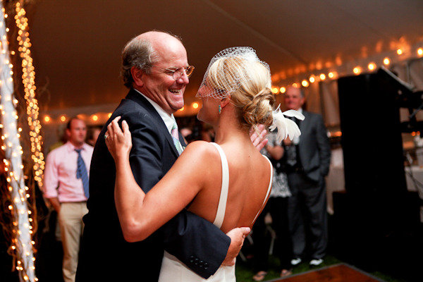 This father put the fun in the father/daughter dance. Photo by Orchard Cove Photography via Style Me Pretty