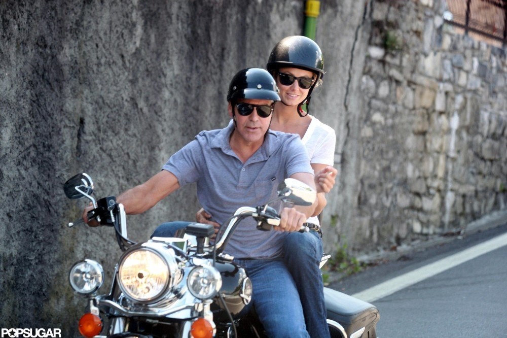 George Clooney took Stacy Keibler for a motorcycle ride around Lake Como, Italy, in June.