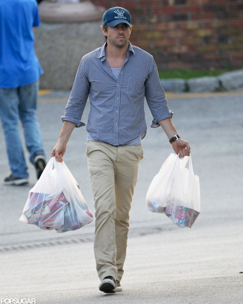 Ryan Reynolds wore a blue cap and button down for grocery shopping trip with Blake Lively in New York.