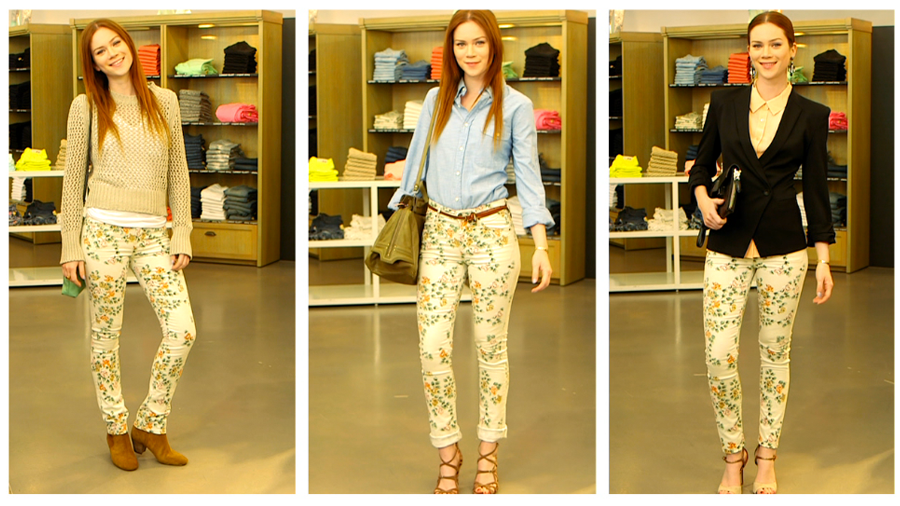One Pair of Printed Jeans Three Ways