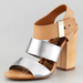 We love the contrast of the neutral leather and slick silver — plus, a chunky heel that would make these a walkable option for a Summer wedding.