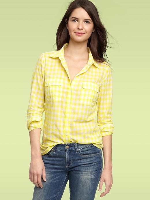 A yellow-hued gingham plaid top is a brighter way to wear your picnic-perfect print. Gap Two-Tone Plaid Pocket Shirt ($30, originally $50)