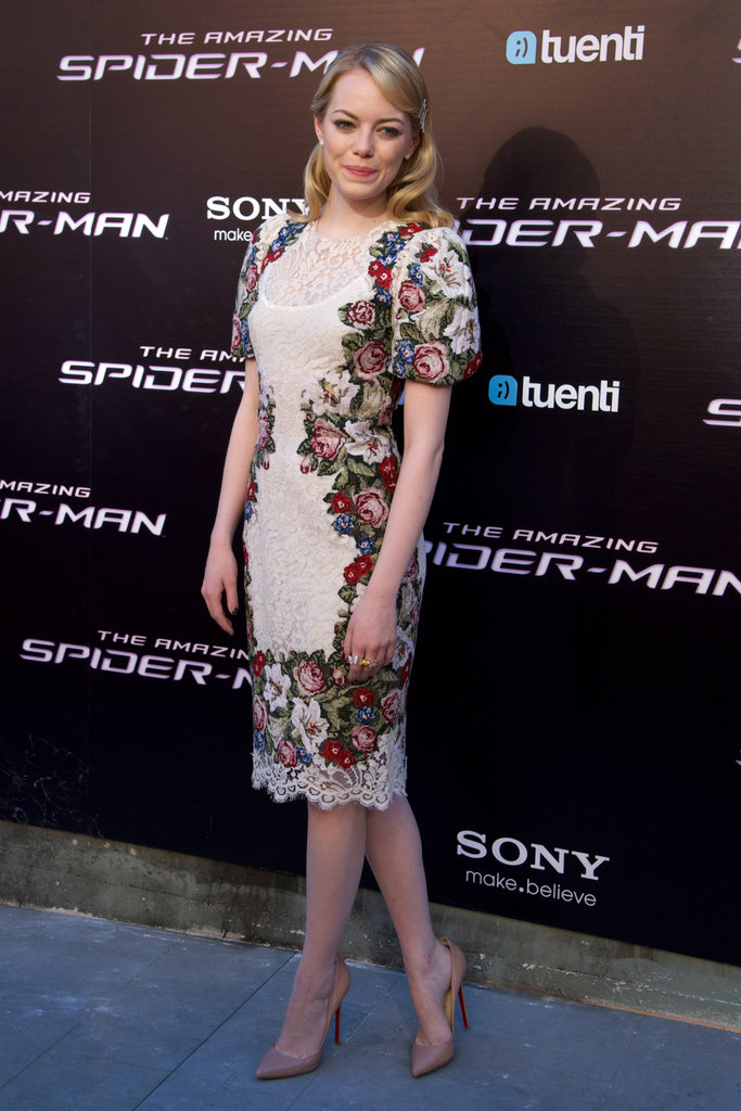Emma Stone had many fashion moments this week, and while she nearly made it in for the black Gucci dress, we couldn't stop thinking about her in Dolce & Gabbana in Spain. Somehow, she makes floral and puffy sleeves look sexy.
