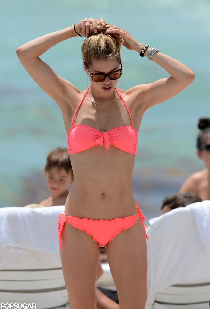 Doutzen Kroes wore a bikini at the beach.